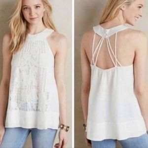 Anthropologie Floreat White Crochet Top Sz 8